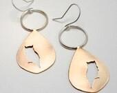 Owl Silhouette Teardrop Earrings in Brass and Sterling