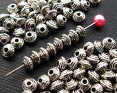 Silver Saucer Beads 5mm - 100 Pieces - Antique Silver Finish Spacer Bicone (SBD0017)