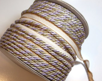 Lip Cord, Lilac and Gold Braided Cord Trim 3/16 inch diameter x 3 yards, DecoPro Baroque, Winter Lilac