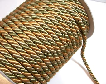 Med. Olive Gold Braided Cord Trim 5/16 inch diameter x 3 yards, DecoPro Baroque, Golden Olive