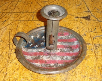 Hand Painted Americana Old TIn Push Up Candlestick | Primitive Candlestick | Tin Candlestick | Vintage TIn Candlestick