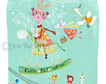 Bunny Friends Come Fly With Me ART PRINT