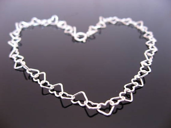 SUMMER SALE. Kids Sterling Silver Hearts Bracelet