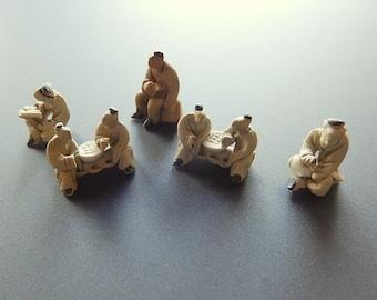 Miniature Bonsai Mud Figures Lot of Five