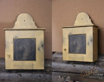 Primitive Kentucky Hanging Cupboard | Mustard on Black Distressed Paint
