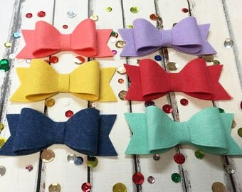 """Wool Felt Bows - Party Bows - Large Bows 4.5"""" - Set of 12"""
