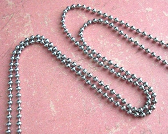 """Stainless Steel 24"""" ball chain. 2.5mm beads. For MEN. Made in USA! Tube Connector. Add a bead-ball chain to your charm order w/Tipsy Whimsey"""