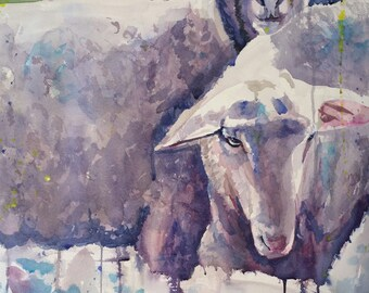 Grazing Sheep Original Watercolor Painting on Rag Paper by Yvonne Ham