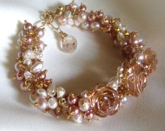 Pearl Bracelet - Statement Bracelet - Rose Bracelet - Wedding Jewelry