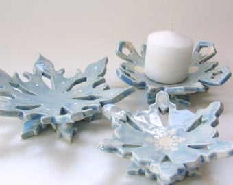 baby blue ceramic snowflake hostess gift dish set of 3 candle holders, spoon rest, soap dish