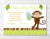 Jungle Monkey Guess How Many Baby Shower Game INSTANT DOWNLOAD