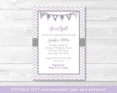 Purple Chevron Baby Showe...