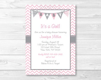 Pink Chevron Baby Shower Invitation PRINTABLE