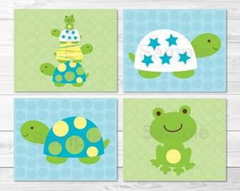 Modern Turtle Frog Nursery Wall Art PRINTABLE Instant Download