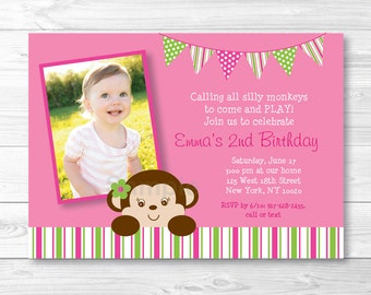 Cute Girl Monkey Birthday Invitation / Monkey Birthday Invite / Mod Monkey Party / Pink & Green Monkey / PRINTABLE Any Age