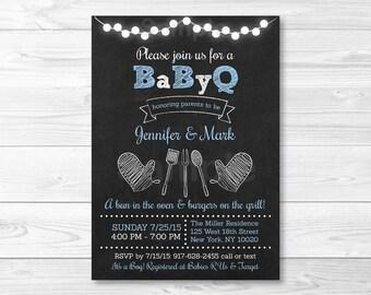 Chalkboard BBQ Baby Shower Invitation / BaByQ Baby Shower Invitation / Baby Boy Shower / PRINTABLE