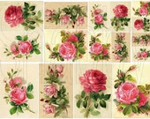 Shabby Chic  Victorian Roses Digital collage sheet for card making mini album and scrapbooks