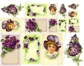 Shabby Chic Pretty in Purple collage sheet for scrapbook and cards DC579