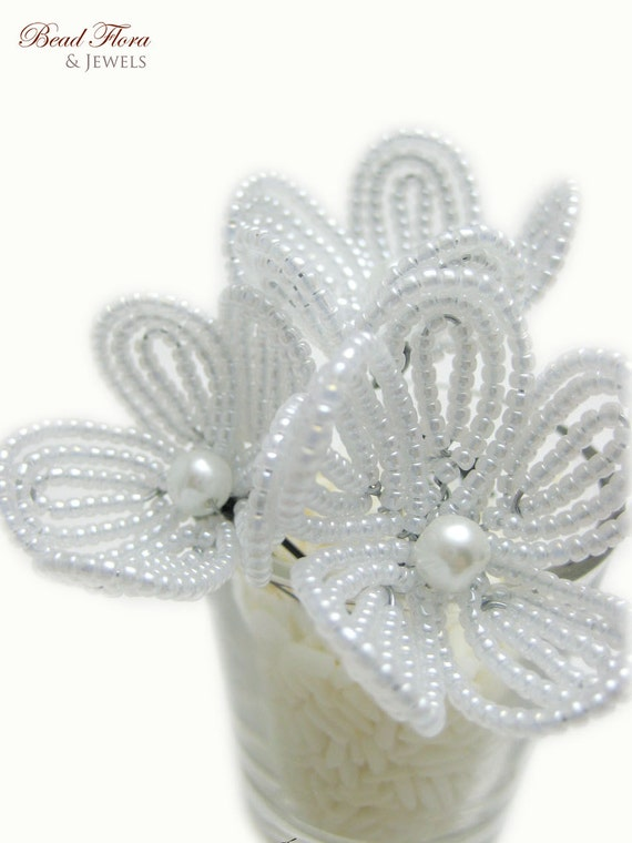 white beaded flower hair pins, French beaded flowers, bridal, bridesmaid, flower girl