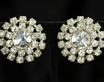 Earrings - Clear Rhinestone Clip Earrings Vintage 1950s