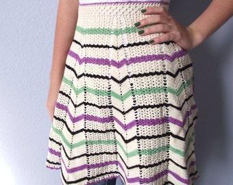 Vintage Apron - Half Apron - Chevron Crochet Purple Green and Black - Handmade Vintage 1950s