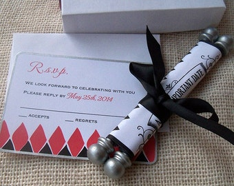 Elegant wedding invitation, Alice in Wonderland, Boxed Scroll Suite with Diamond Pattern, Black Red and Silver, 30