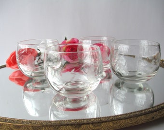 Vintage Floral Etched Roly Poly Bar Glasses Set of Four, Retro