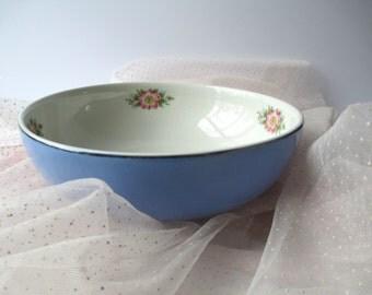 Vintage Hall's Royal Rose Blue Serving Bowl