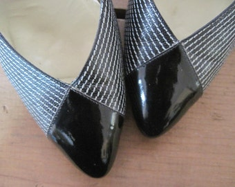 "size 9, 1980s power pumps - vintage 3"" high heels, black + white leather pinstripes, RANGONI, 80s designer shoes"