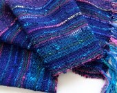 handwoven wide scarf navy blue confetti lightweight
