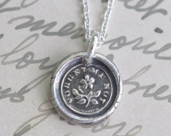 forget me not flower wax seal necklace pendant … faithfulness, love - fine silver victorian trinket wax seal jewelry