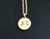 Clearance 24K gold valentines xo hugs and kisses leaf print  necklace