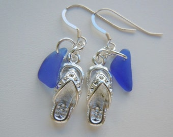 Flip Flop Dangle Earrings Sea Glass Blue Beach Glass Earrings, Sea Glass Earrings, Seaglass Jewelry