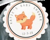 Personalized Baby Shower Favor Tags - Gender Nuetral - Woodland Animal - Favor Tags - Fox - Gift Tag - Baby Shower Tag - Candy Tags - 25