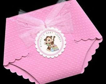 Baby Shower Invitations - Baby Girl Baby Shower Invitations - Baby Girl Shower Invitations - Diaper Invitations - Pink - Monkey