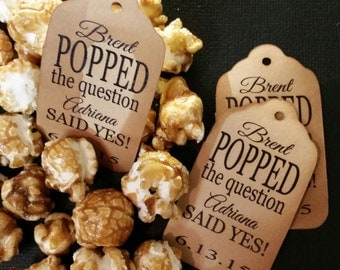 Popped The Question MEDIUM Personalized Wedding Engagement  Shower Favor Tag choose your amount