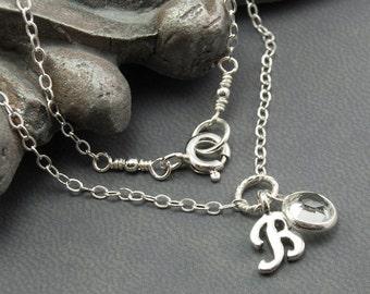 Birthstone Jewelry April Birthstone Necklace, Personalized Jewelry B Initial Necklace, Clear Crystal Diamond Alternative Necklace
