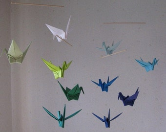 "10 Large Origami Cranes Mobile - Heavy Kraft Paper, large 10 cranes folded from 6"" Heavy Kraft Paper in Green and Blue Shades, Home Decor"