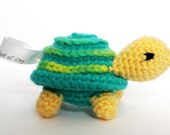Handmade RATTLE Toy: Child Safe, Textured Stuffie Turtle in Yellow and Blue Washable Yarn; Designed for Baby or Toddler Boy or Girl