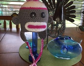 Crochet Baby Girl Gray and Pink Sock Monkey Hat