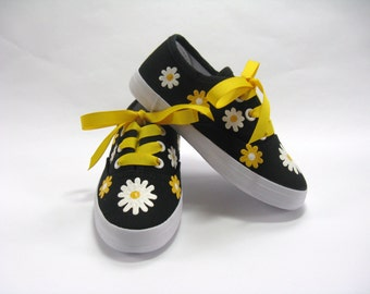 Girls Daisy Shoes, Hand Painted Yellow and White Summer Flowers on Black Canvas Sneakers for Baby and Toddlers