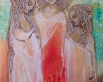 Reflection,Tattered Renaissance Saint TRIO Mixed Media Art PRINT 8 x 10  by altered posh