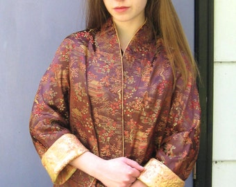 Embroidered Asian Jacket . Reversible Embroidered Chinese Jacket