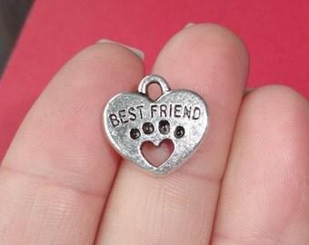 "10 Heart ""BEST FRIEND"" Paw Charm 15x15x3mm"