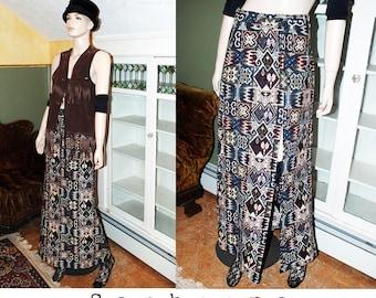 Vintage 60s 70s tapestry maxi skirt wrap slit skirt kilim southwestern boho tribal ethnic festival hippie INCLUDES US SHIPPING