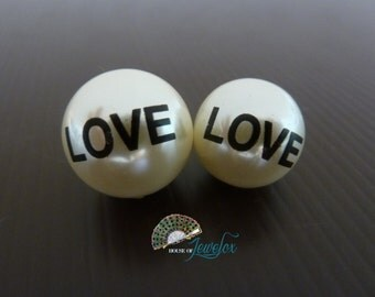 Round Pearl Ivory Beads with LOVE printed, Valentine - Choose 20mm or 18mm
