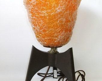 Vintage Spaghetti Table Lamp Fiberglass Spun Resin Glass Light Orange Bedroom bedside Lighting