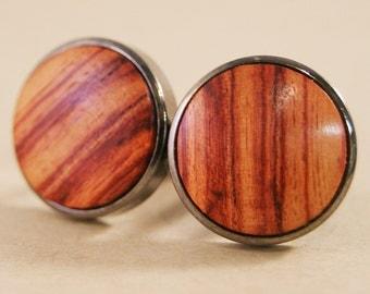 Wood Cufflinks - Brazilian Tulipwood in Gunmetal Bezel cufflinks