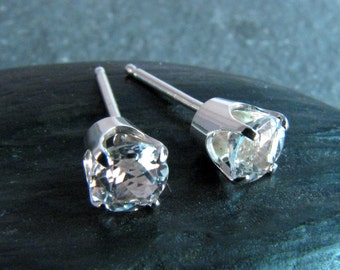 White Topaz Stud Earrings - Prong Set in Sterling Silver - 5mm - April Birthstone - Classic Everyday Jewelry - Diamond Alternative
