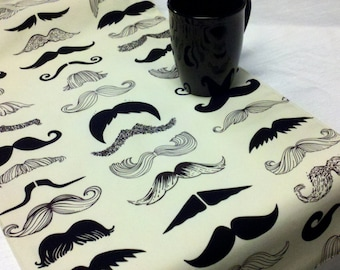 MUSTACHE TABLE LINENS  Table runners, napkins, or placemats black and creamy white moustache party wedding bridal photo shoot